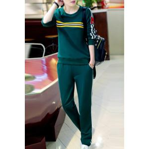 Casual Style Round Collar Long Sleeve Letter M Pattern Sweatshirt + Striped Pants Twinset For Women -