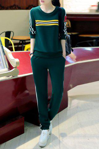 Trendy Casual Style Round Collar Long Sleeve Letter M Pattern Sweatshirt + Striped Pants Twinset For Women