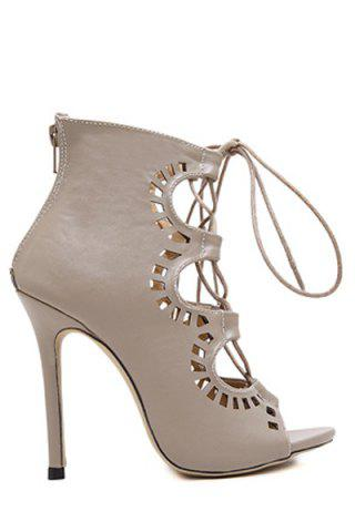 Hot Point Heel Lace Up Cut Out Sandals