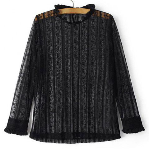 Online Stylish Ruffled Collar Long Sleeve See-Through Lace Blouse For Women