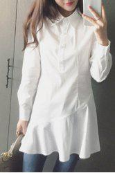 Shirt Collar Long Sleeve Flounced Dress Shirt