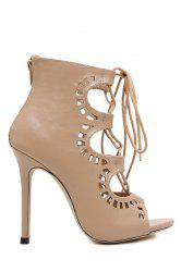 Point Heel Lace Up Cut Out Sandals