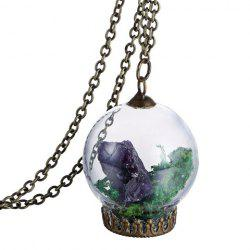 Glass Dry Plant Pendant Necklace