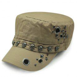 Stylish Hollow Circle Ring Skull Rivet Embellished Military Hat For Men - KHAKI
