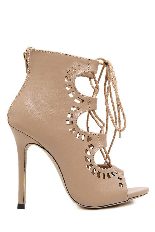 Shops Point Heel Lace Up Cut Out Sandals