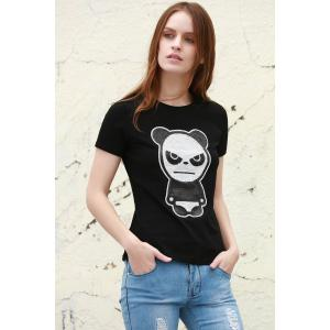 Sequined Panda Pattern T-Shirt - Black - S