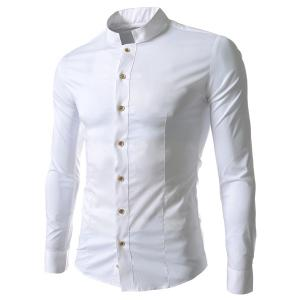 Stand Collar Solid Color Long Sleeve Slim Fit Men's Shirt - White - 2xl