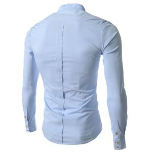 Stand Collar Solid Color Long Sleeve Slim Fit Men's Shirt - BLUE L