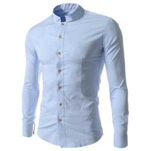 Stand Collar Solid Color Long Sleeve Slim Fit Men's Shirt - Blue - L