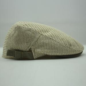 Stylish Solid Color Ramie Cotton Fabric Beret For Men - Light Khaki - 57cm