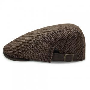 Stylish Solid Color Ramie Cotton Fabric Beret For Men - Coffee