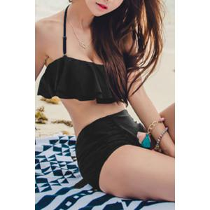 Endearing Black Halter Flounced High Waist Bikini For Women -