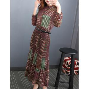 Chic Stand Collar Long Sleeve Printed Women's Chiffon Dress -