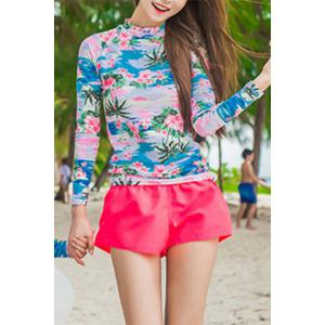 Stylish Floral Printed High Neck T-Shirt and Briefs and Shorts Three-Piece Swimwear For Women - Rose - L