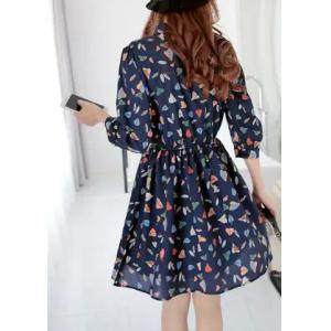 Chic Stand Collar 3/4 Sleeve Leaf Print Women's Dress -