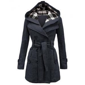 Stylish Hooded Double-Breasted Long Sleeve Worsted Coat For Women