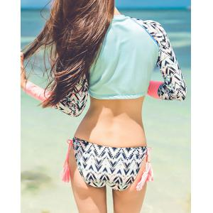 Cute Stand Collar Long Sleeve Crop Top and Pendant Briefs Bikini For Women - COLORMIX XL