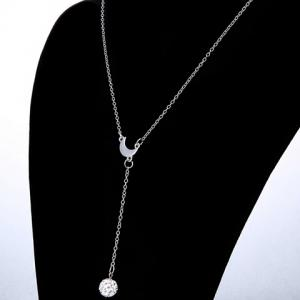 Exquisite Moon Shape Rhinestoned Ball Pendant Necklace For Women -