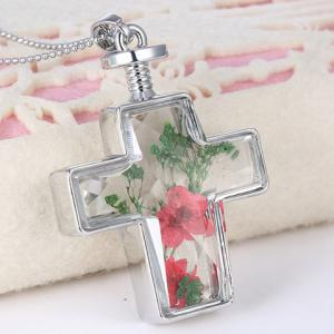Exquisite Cross Shape Dry Flower Decorated Sweater Chain For Women -