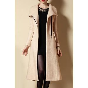 Stylish Turtle Neck Long Sleeve Zip Up Slimming Coat For Women -
