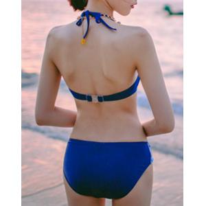 Simple Halter Abstract Letter Print Three-Piece Swimsuit For Women -