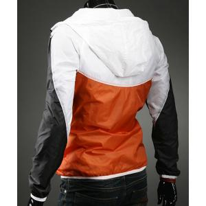 Hooded Zipper Pockets Color Block Splicing Long Sleeve Men's Sports Jacket -