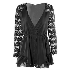 Stylish Plunging Neck Long Sleeve Hollow Out Romper For Women - Black - S