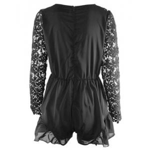 Stylish Plunging Neck Long Sleeve Hollow Out Romper For Women - BLACK S