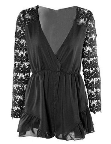 Hot Stylish Plunging Neck Long Sleeve Hollow Out Romper For Women BLACK S