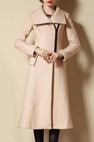 Trendy Stylish Turtle Neck Long Sleeve Zip Up Slimming Coat For Women