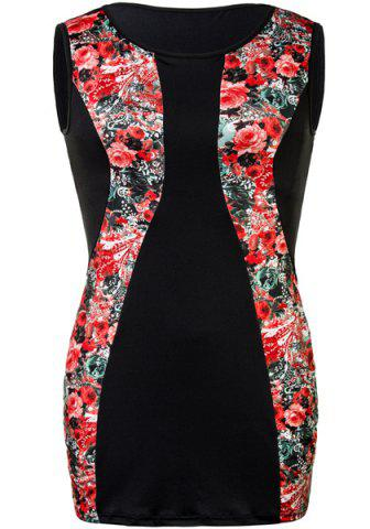 Affordable Charming Red Floral Printed Sleeveless Bodycon Mini Dress For Women RED 2XL