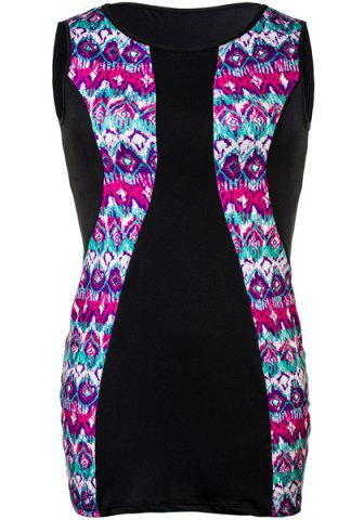 Hot Ethnic Style Jewel Neck Sleeveless Colorful Printed Boydcon Dress For Women COLORMIX 2XL