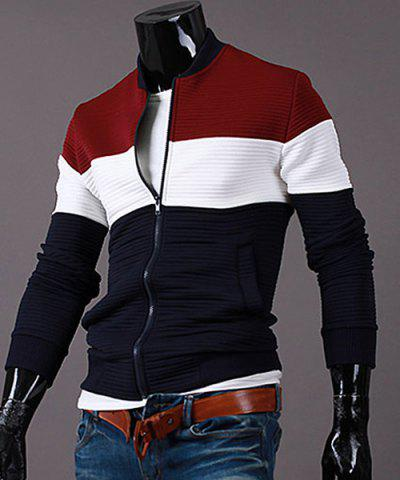 Stand Collar Rib Cuffs Color Block Splicing Long Sleeve Men's Sports Jacket - Red - 2xl