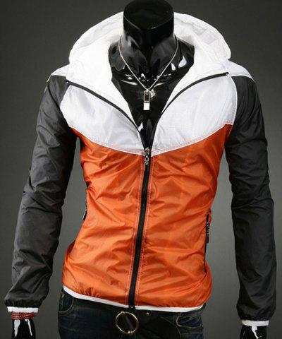 Fashion Hooded Zipper Pockets Color Block Splicing Long Sleeve Men's Sports Jacket