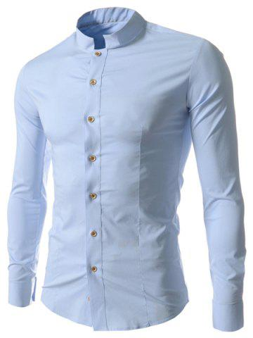 Sale Stand Collar Solid Color Long Sleeve Slim Fit Men's Shirt BLUE L