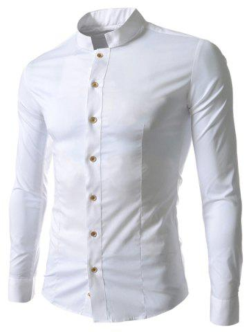 Stand Collar Solid Color Long Sleeve Slim Fit Men's Shirt - White - M