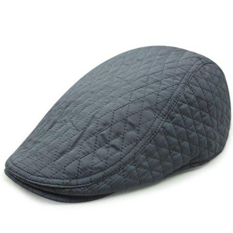 Trendy Stylish Rhombus Mesh Thread Embellished Solid Color Cabbie Hat For Men - GRAY  Mobile