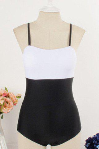 Latest Stylish Spaghetti Strap Color Spliced One-Piece Swimsuit For Women