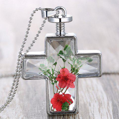 Fancy Exquisite Cross Shape Dry Flower Decorated Sweater Chain For Women