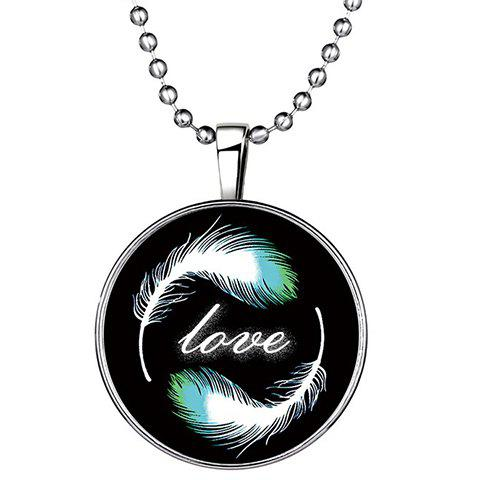 Discount Chic Feather Letter Round Love Noctilucent Pendant Necklace