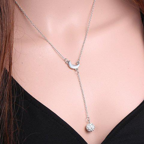 Outfits Exquisite Moon Shape Rhinestoned Ball Pendant Necklace For Women