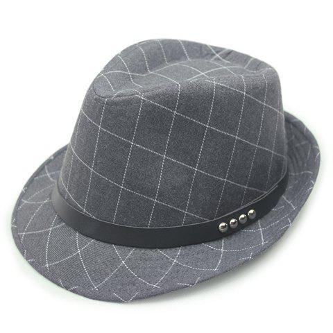 Trendy Chic Stud PU Belt Embellished Gingham Jazz Hat For Women - GRAY  Mobile