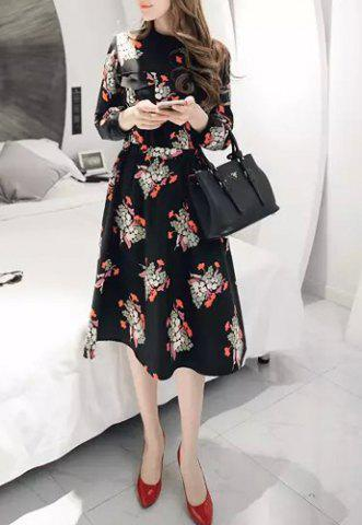 Latest Chic Round Neck 3/4 Sleeve Pocket Design Floral Print Women's Dress