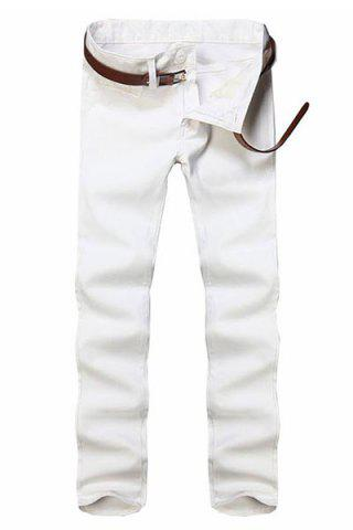 Shops Simple Style Straight Leg Solid Color Zipper Fly Slimming Men's Pants