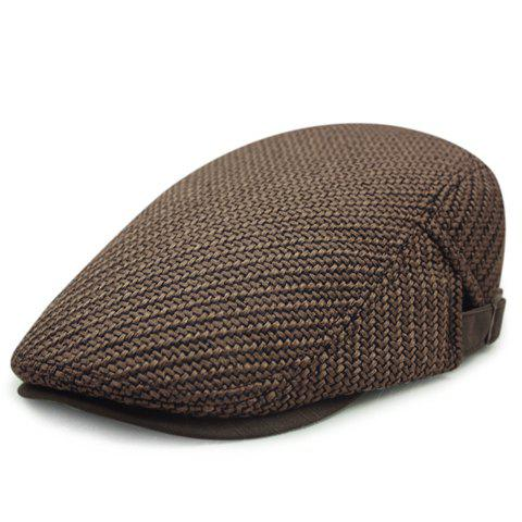 Fancy Stylish Solid Color Ramie Cotton Fabric Beret For Men - COFFEE  Mobile