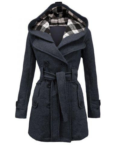 Stylish Hooded Double-Breasted Long Sleeve Worsted Coat For Women - Deep Gray - S