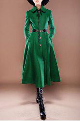 Button Up Wool Blend Tea Length Dress - GREEN XL