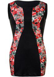 Charming Red Floral Printed Sleeveless Bodycon Mini Dress For Women - RED 2XL