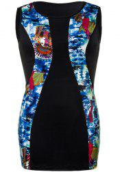 Vintage Sleeveless Pharaoh Printed Bodycon Plus Size Dress For Women