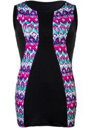 Ethnic Style Jewel Neck Sleeveless Colorful Printed Boydcon Dress For Women - COLORMIX 2XL
